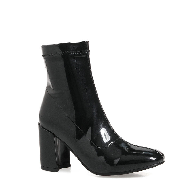 Black Patent Heeled Ankle Boots, Shoes - Mood:Fabulous | Find your style! Shop online women's clothing, accessories, shoes & more. Free shipping on orders over 50€.