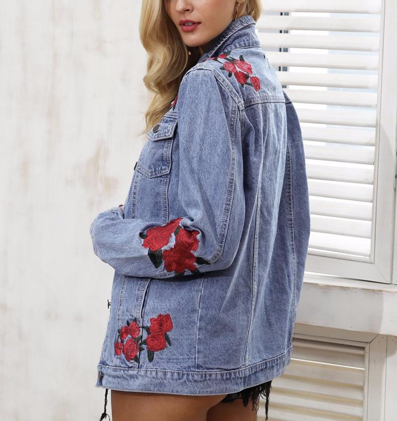Rose Embroidered Denim Jacket, Jackets - Mood:Fabulous | Find your style! Shop online women's clothing, accessories, shoes & more. Free shipping on orders over 50€.