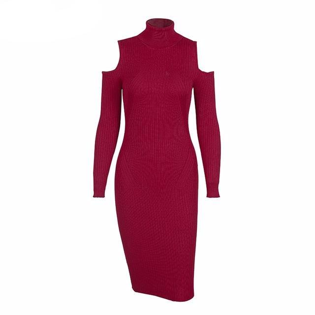 Cold-Shoulder Turtleneck Knit Dress, Dresses - Mood:Fabulous | Find your style! Shop online women's clothing, accessories, shoes & more. Free shipping on orders over 50€.