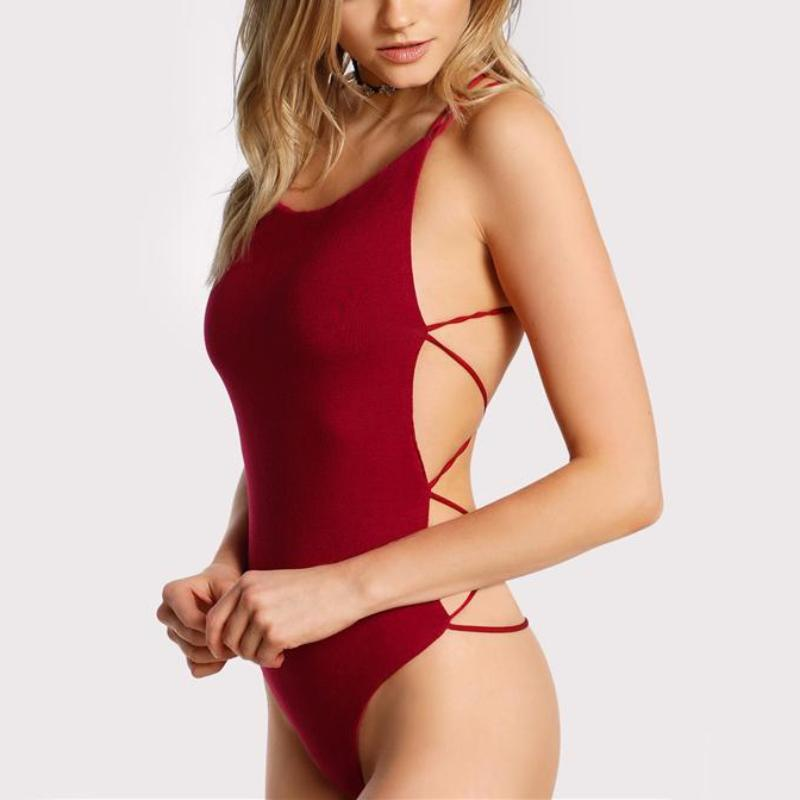 Red Strappy Backless Bodysuit, Tops - Mood:Fabulous | Find your style! Shop online women's clothing, accessories, shoes & more. Free shipping on orders over 50€.
