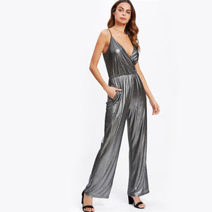 Metallic Plunge Jumpsuit, Jumpsuits - Mood:Fabulous | Find your style! Shop online women's clothing, accessories, shoes & more. Free shipping on orders over 50€.