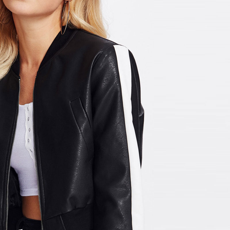 Faux Leather Side Stripe Jacket, Jackets - Mood:Fabulous | Find your style! Shop online women's clothing, accessories, shoes & more. Free shipping on orders over 50€.