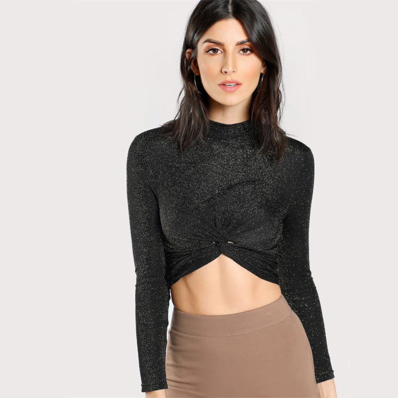 Turtleneck Twist Hem Glitter Crop Top, Tops - Mood:Fabulous | Find your style! Shop online women's clothing, accessories, shoes & more. Free shipping on orders over 50€.