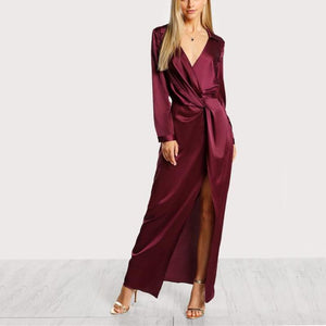 Satin Front Twist Wrap Dress, Dresses - Mood:Fabulous | Find your style! Shop online women's clothing, accessories, shoes & more. Free shipping on orders over 50€.