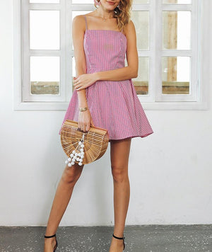 Gingham Backless Skater Dress, Dresses - Mood:Fabulous | Find your style! Shop online women's clothing, accessories, shoes & more. Free shipping on orders over 50€.