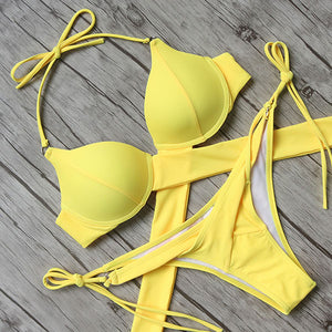 Push Up Halter Bikini Set, Swimwear - Mood:Fabulous | Find your style! Shop online women's clothing, accessories, shoes & more. Free shipping on orders over 50€.