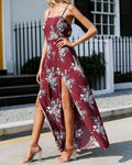 Burgundy Floral High Slit Jumpsuit, Jumpsuits - Mood:Fabulous | Find your style! Shop online women's clothing, accessories, shoes & more. Free shipping on orders over 50€.