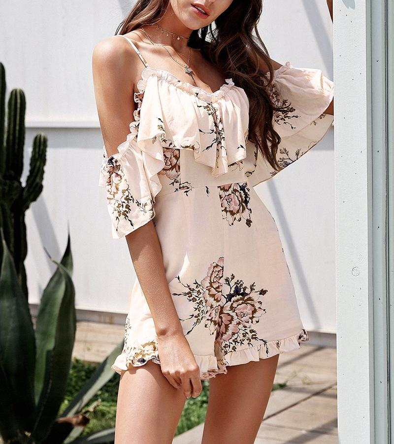 Cold Shoulder Ruffle Overlay Romper, Jumpsuits - Mood:Fabulous | Find your style! Shop online women's clothing, accessories, shoes & more. Free shipping on orders over 50€.