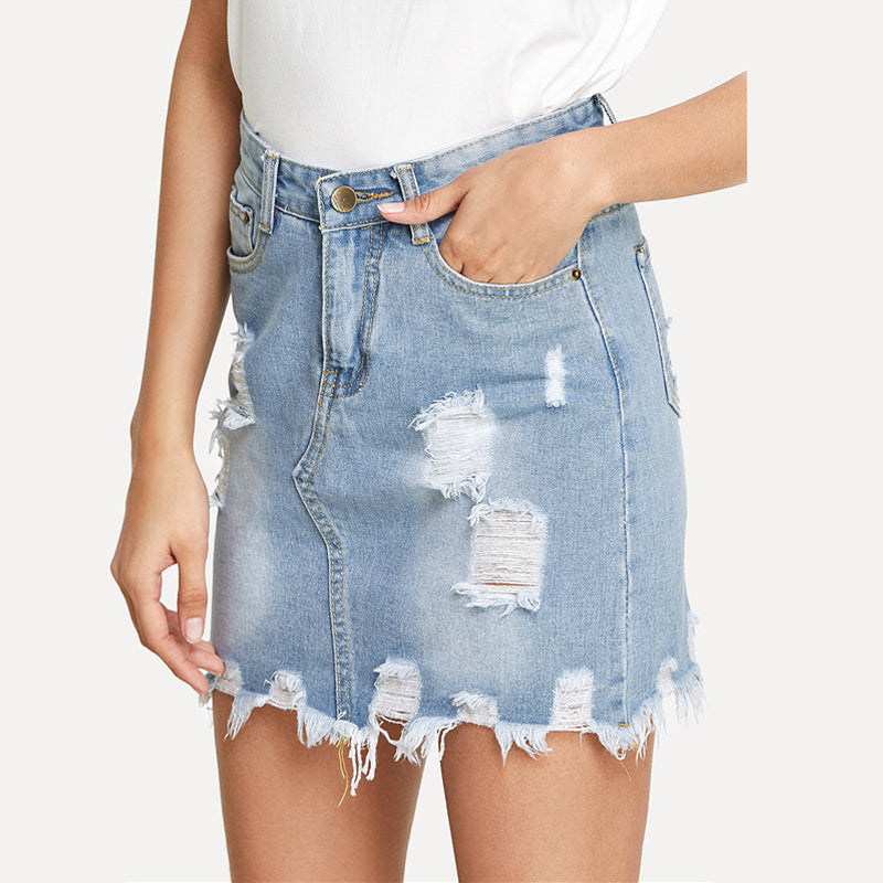 High Waisted Ripped Denim Skirt, Bottoms - Mood:Fabulous | Find your style! Shop online women's clothing, accessories, shoes & more. Free shipping on orders over 50€.