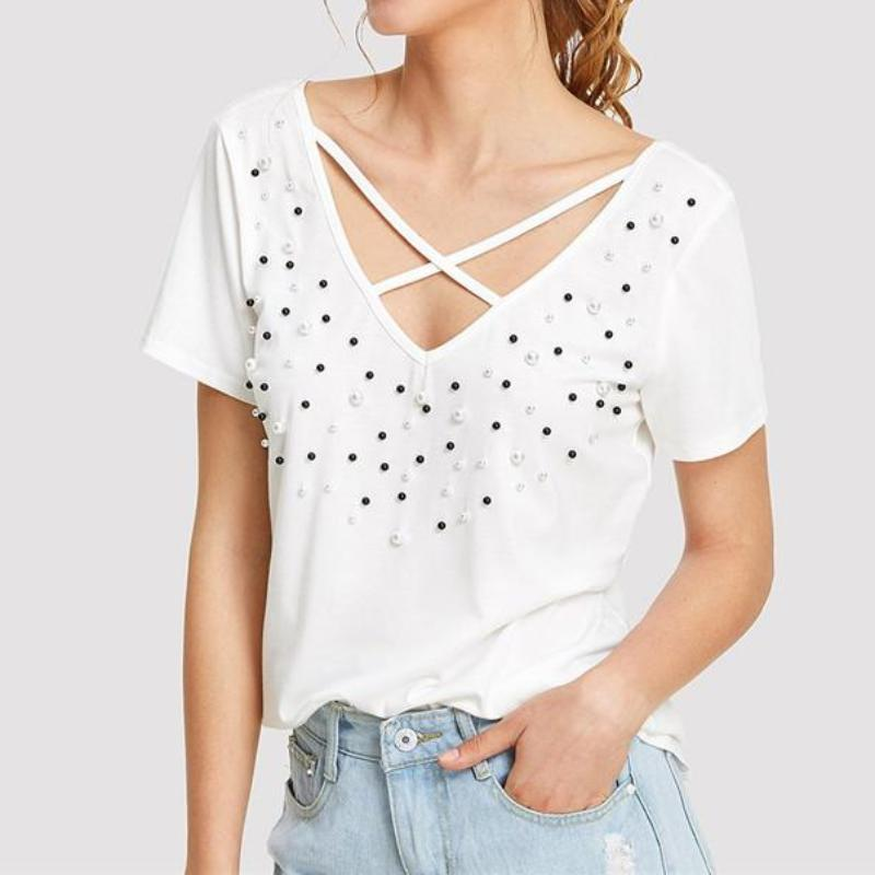 Pearl Beads Crisscross T-Shirt, Tops - Mood:Fabulous | Find your style! Shop online women's clothing, accessories, shoes & more. Free shipping on orders over 50€.
