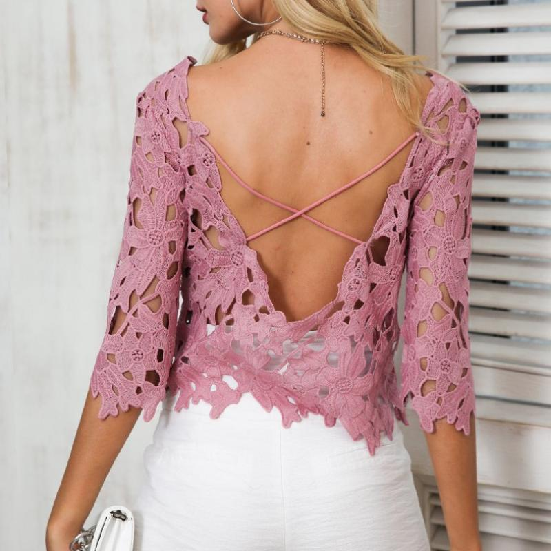 Hollow Out Backless Blouse, Tops - Mood:Fabulous | Find your style! Shop online women's clothing, accessories, shoes & more. Free shipping on orders over 50€.