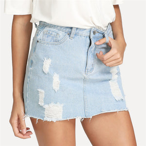 Ripped Denim Mini Skirt, Bottoms - Mood:Fabulous | Find your style! Shop online women's clothing, accessories, shoes & more. Free shipping on orders over 50€.