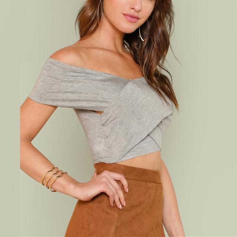 Crisscross Bardot Crop Top, Tops - Mood:Fabulous | Find your style! Shop online women's clothing, accessories, shoes & more. Free shipping on orders over 50€.