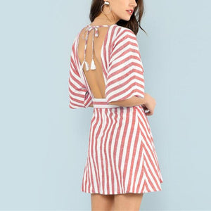 Red Striped Plunge Backless Dress, Dresses - Mood:Fabulous | Find your style! Shop online women's clothing, accessories, shoes & more. Free shipping on orders over 50€.
