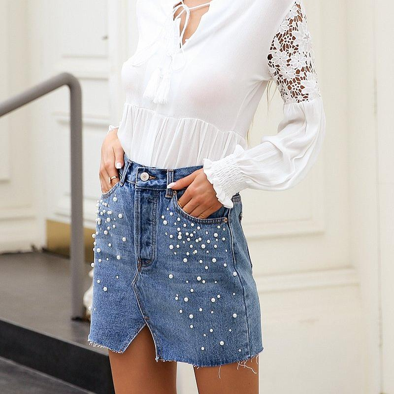 Slit Denim Skirt With Pearls, Bottoms - Mood:Fabulous | Find your style! Shop online women's clothing, accessories, shoes & more. Free shipping on orders over 50€.