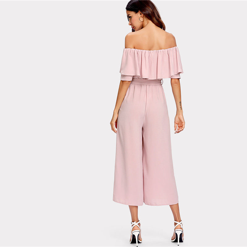 Off-Shoulder Ruffle Culotte Jumpsuit, Jumpsuits - Mood:Fabulous | Find your style! Shop online women's clothing, accessories, shoes & more. Free shipping on orders over 50€.