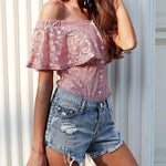 Off-Shoulder Ruffle Lace Bodysuit, Tops - Mood:Fabulous | Find your style! Shop online women's clothing, accessories, shoes & more. Free shipping on orders over 50€.