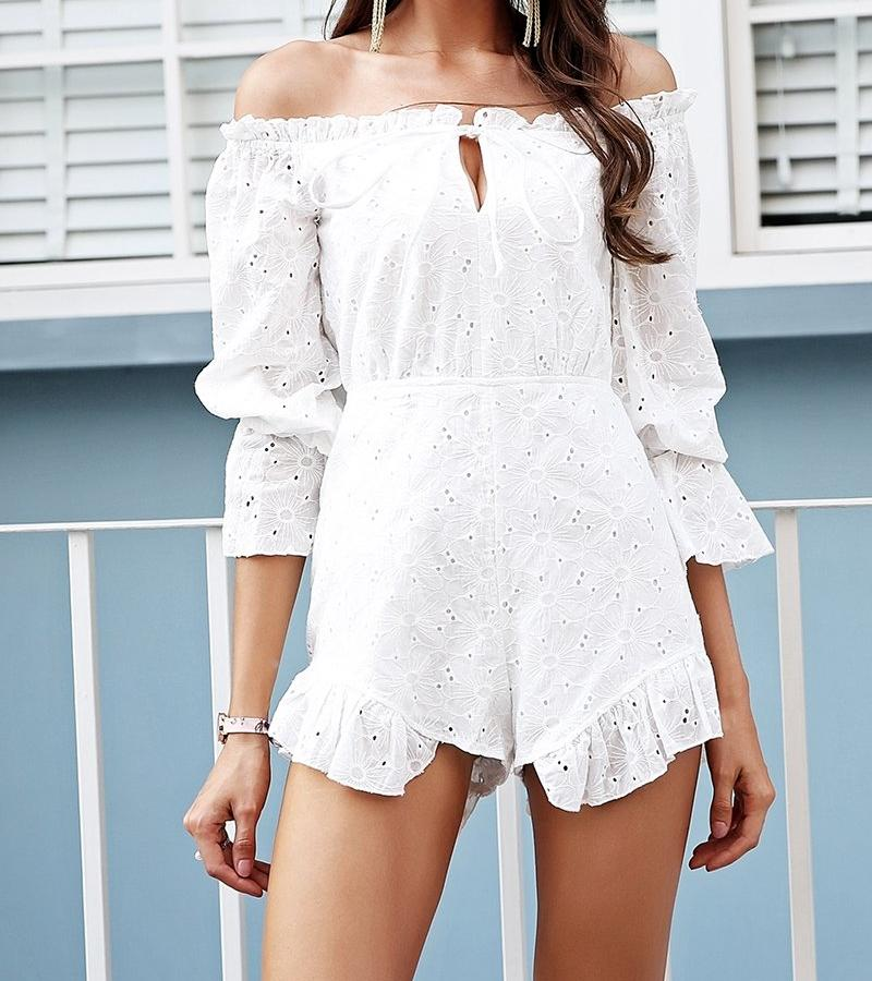 Off-Shoulder Ruffle Eyelet Romper, Jumpsuits - Mood:Fabulous | Find your style! Shop online women's clothing, accessories, shoes & more. Free shipping on orders over 50€.