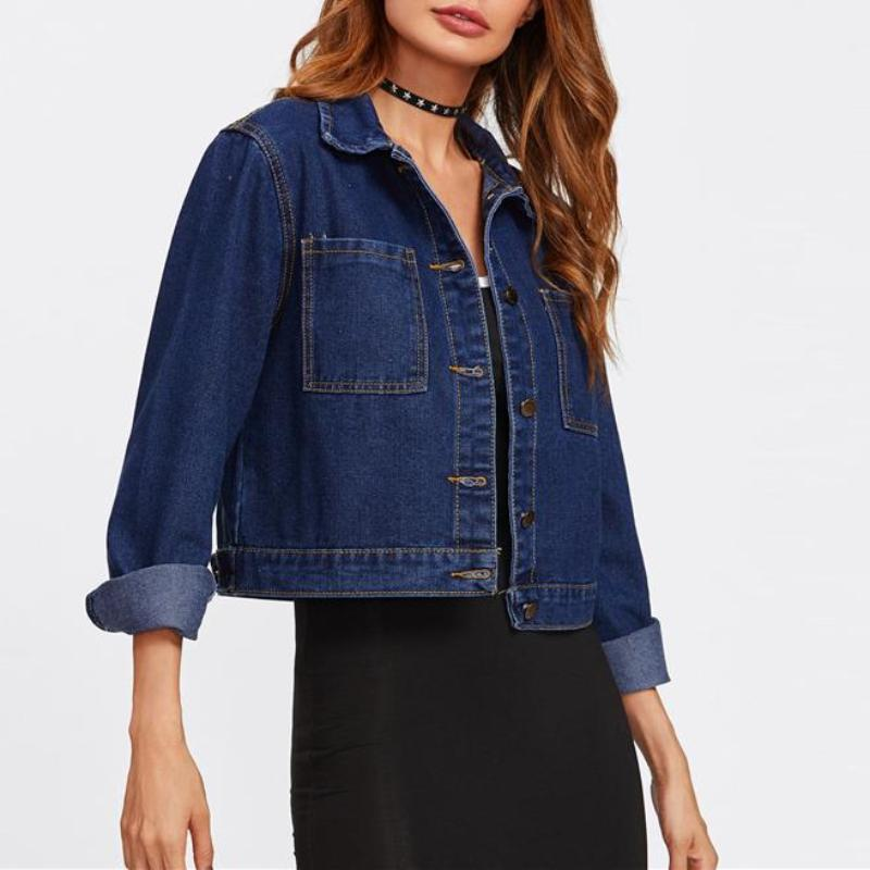 Basic Cropped Denim Jacket, Jackets - Mood:Fabulous | Find your style! Shop online women's clothing, accessories, shoes & more. Free shipping on orders over 50€.