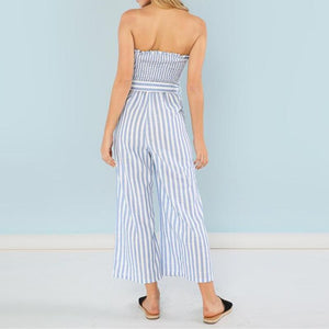 Striped Bandeau Wide Leg Jumpsuit, Jumpsuits - Mood:Fabulous | Find your style! Shop online women's clothing, accessories, shoes & more. Free shipping on orders over 50€.
