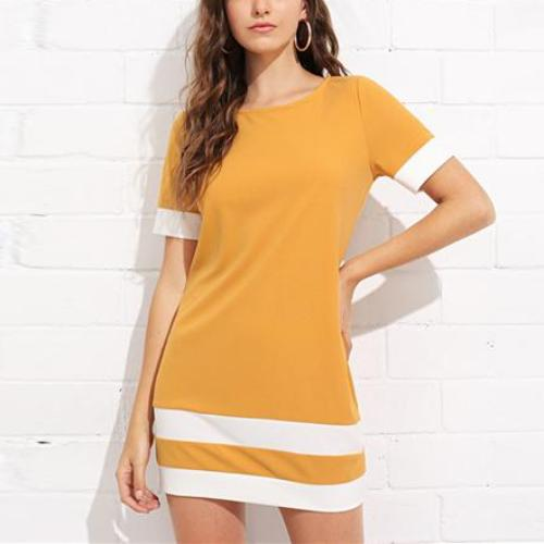Yellow Stripe T-Shirt Shift Dress, Dresses - Mood:Fabulous | Find your style! Shop online women's clothing, accessories, shoes & more. Free shipping on orders over 50€.