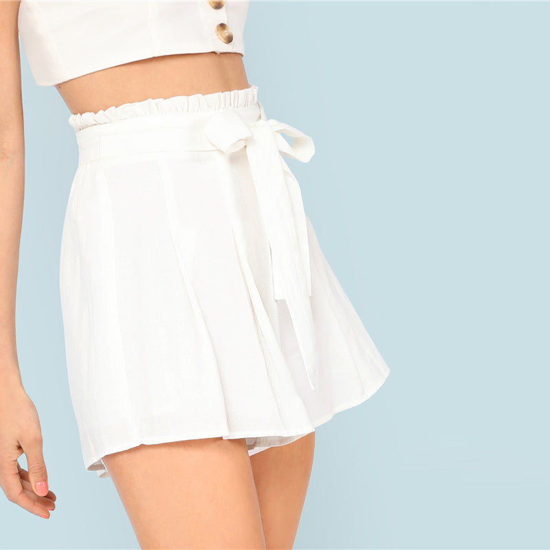 White Paperbag Waist Shorts, Bottoms - Mood:Fabulous | Find your style! Shop online women's clothing, accessories, shoes & more. Free shipping on orders over 50€.