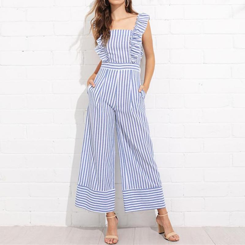 Striped Ruffle Trim Wide Leg Jumpsuit, Jumpsuits - Mood:Fabulous | Find your style! Shop online women's clothing, accessories, shoes & more. Free shipping on orders over 50€.