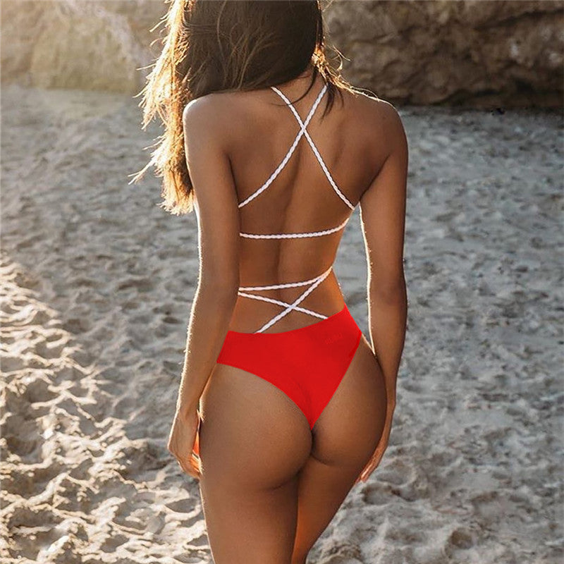 Red Backless Strappy One-Piece, Swimwear - Mood:Fabulous | Find your style! Shop online women's clothing, accessories, shoes & more. Free shipping on orders over 50€.