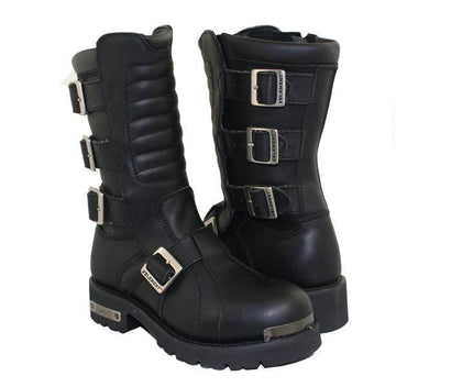 Xelement 1503 'Executioner' Men's Black Leather Motorcycle Boots
