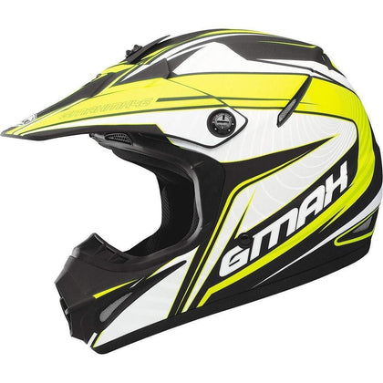 GMax GM46.2 'Coil' Matte Black/White/Hi-Viz Yellow Motocross Helmet