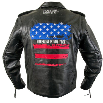 "Officially Licensed Hustler HSLJ-700 Men's 'Freedom Is Not Free"" Vintage Leather Motorcycle Jacket"