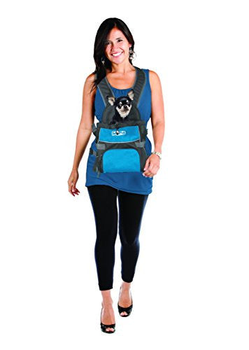 Poochpouch Dog Carrier, Front Carrier for Small Dogs by Outward Hound, Medium, Blue
