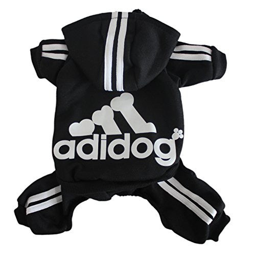 Scheppend Adidog Pet Clothes for Dog Cat Puppy Hoodies Coat Winter Sweatshirt Warm Sweater,Black Medium