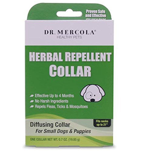 Dr Mercola Herbal Repellent Collar For Small Dogs & Puppies - Repels Ticks/Fleas/Mosquitos - Effective Up To 4 Months - Premium Pet Care Products