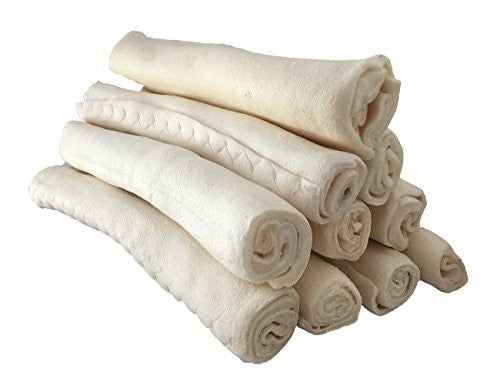 Rawhide Retriever Roll Bulk - 100% Natural Rawhide Roll Dog Treats (8-10 Inches, 24 Count)