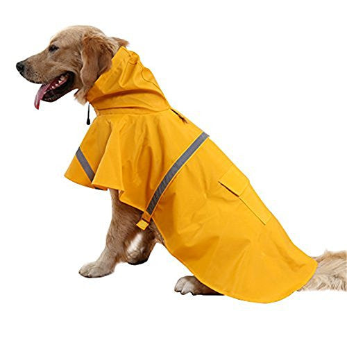 Genenic Large Dog Raincoat Leisure Pet Waterproof Clothes Lightweight Rain Jacket Poncho with Strip Reflective (XL)