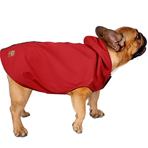 Jelly Wellies Premium Quality Waterproof Reflective Deluxe Raincoat with Polar Fleece Lining for Dogs- Medium, Red
