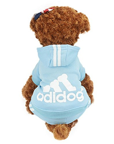 Idepet(TM) Adidog Pet Dog Cat Clothes 4 Legs Cotton Puppy Hoodies Coat Sweater Costumes Dog Jacket (XS, Blue)