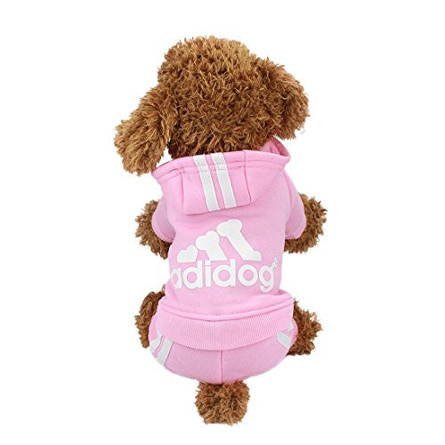 Idepet(TM) Adidog Pet Dog Cat Clothes 4 Legs Cotton Puppy Hoodies Coat Sweater Costumes Dog Jacket (S, Pink)