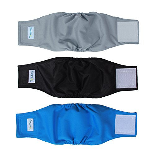 Teamoy Resuable Wrap Diapers for Male Dogs, Washable Puppy Belly Band Pack of 3 (S, 10''-13''Waist, Black+ Gray+ Lake Blue)