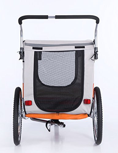 Sepnine Pet Dog Bike Trailer, Orange/Grey