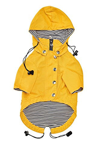 Zip Up Dog Raincoat With Reflective Buttons, Pockets, Rain/Water Resistant, Adjustable Drawstring, & Removable Hoodie - Available in Extra Small to Extra Large - Yellow Stylish Dog Rain Jacket (L)