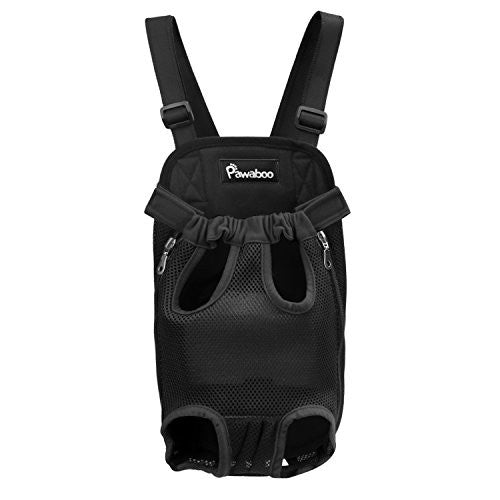Pawaboo Pet Carrier Backpack, Adjustable Pet Front Cat Dog Carrier Backpack Travel Bag, Legs Out, Easy-Fit for Traveling Hiking Camping, Small Size, BLACK