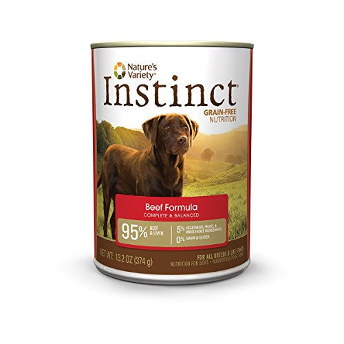 Instinct Grain Free Beef Formula Natural Wet Canned Dog Food by Nature's Variety, 13.2 oz. Cans (Case of 6)
