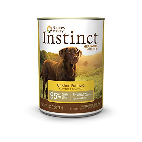 Instinct Grain Free Chicken Formula Natural Wet Canned Dog Food by Nature's Variety, 13.2 oz. Cans (Case of 6)