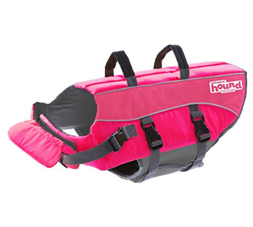 Outward Hound Ripstop Medium Dog Life Jacket Life Preserver for Dogs, Pink, Medium