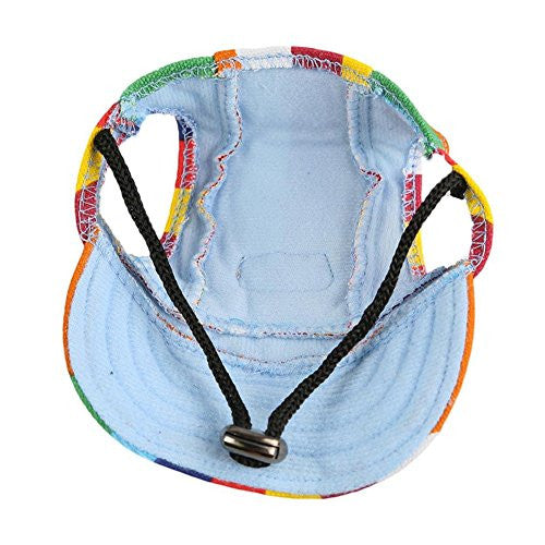 Easywin Pet Outdoor Accessories Elastic Chin Strap Doggy Puppy Dog Cat Visor Hat Sports Baseball Cap With Ear Holes Only for Small Dogs ( Stripe, Size M )