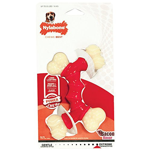 Nylabone Dura Chew Wolf Bacon Flavored Double Bone Dog Chew Toy