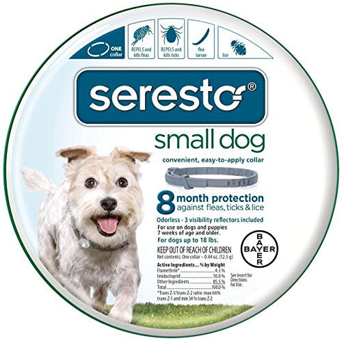 Bayer Seresto Flea and Tick Collar for Small Dog, up to 18 lb, 8 Month Protection