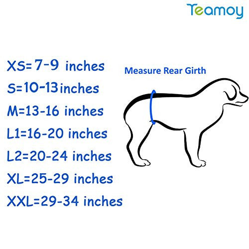Teamoy Resuable Wrap Diapers for Male Dogs, Washable Puppy Belly Band Pack of 3 (M, 13''-16''Waist, Black+ Gray+ Lake Blue)